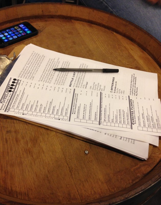 Flight sheet at The Bruery