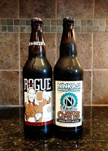 Rogue Chocolate Stout and Ninkasi Vanilla Oatis bottle
