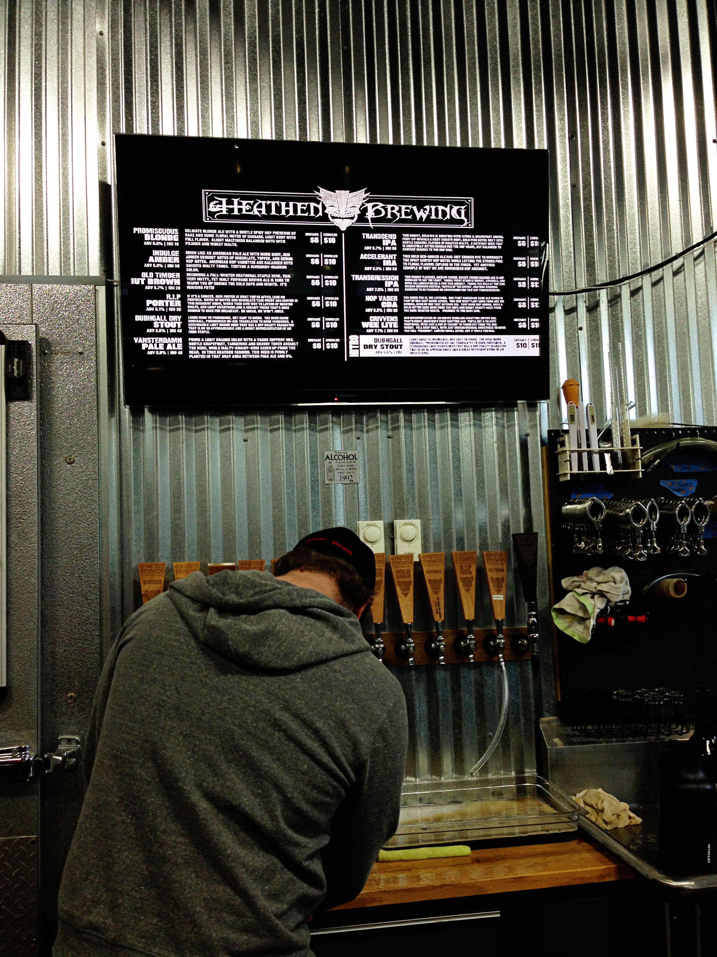 Heathen Brewing Beer list taps