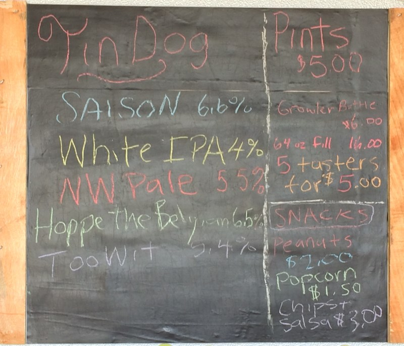 Selection board at Tin Dog Brewing