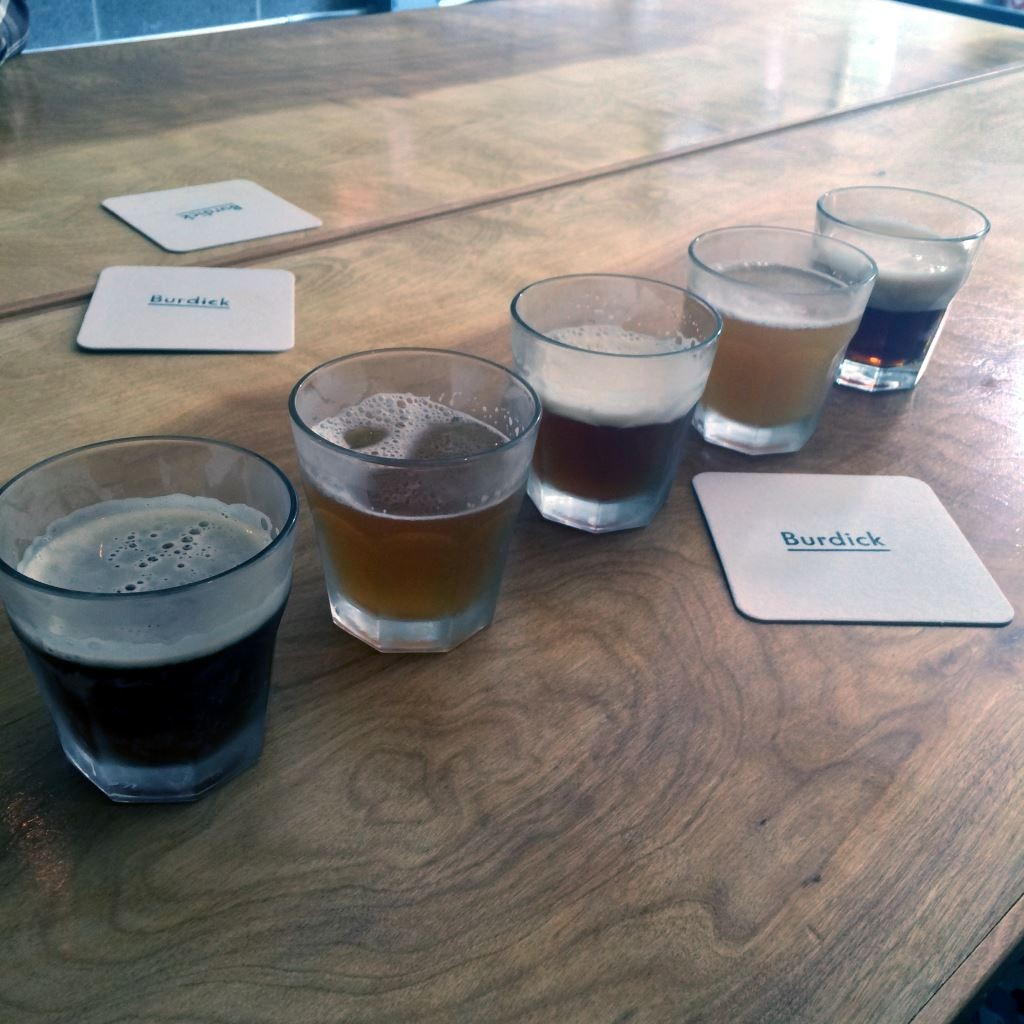 Flight of brews at Burdick Brewery