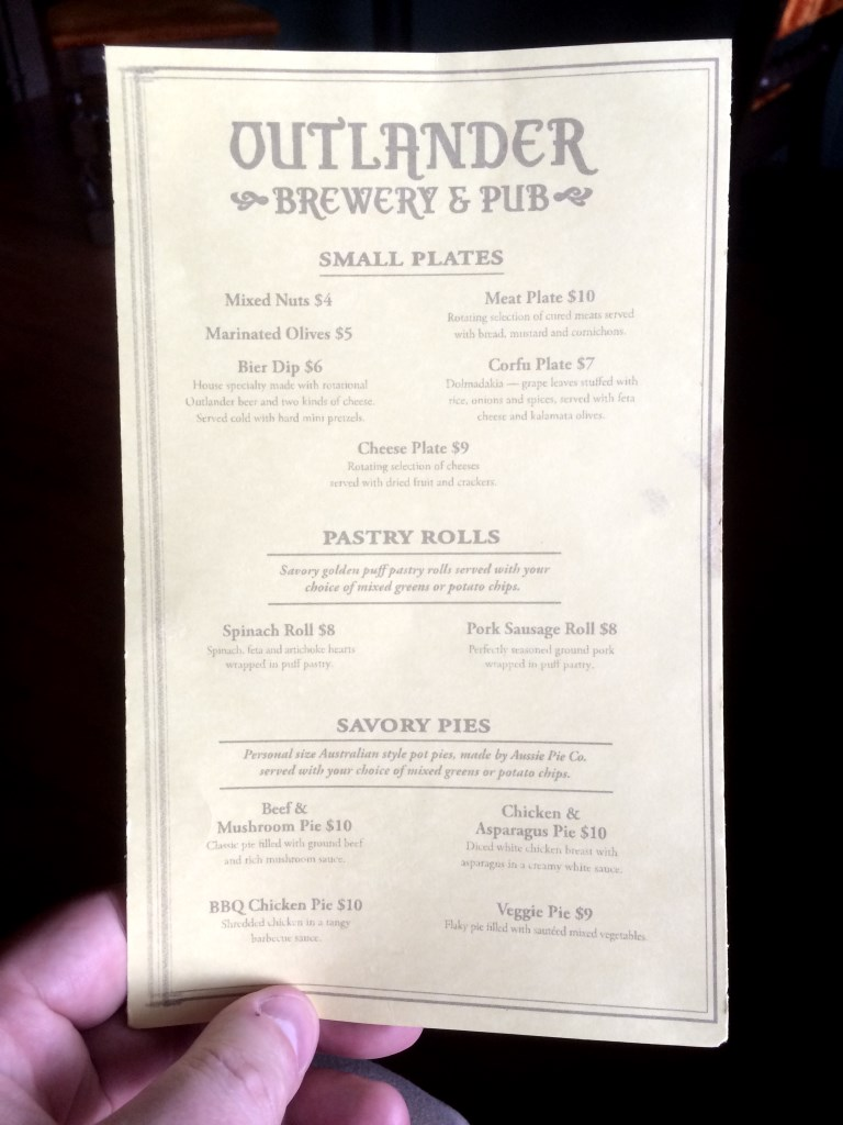 Outlander Food Menu
